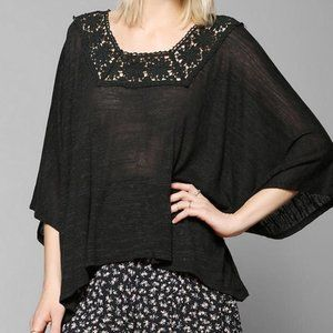 Pins and needles black crochet trimmed poncho